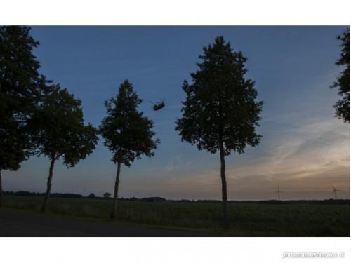 Oefenvlucht boven de polder